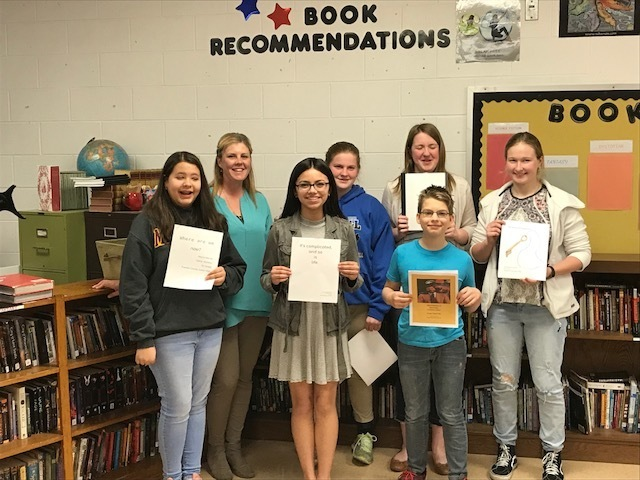 PCJH Young Authors:  Myra M., Mrs. Hannon, Arianna R., Emma N., Preston T., Paige T., and Madelyn T.
